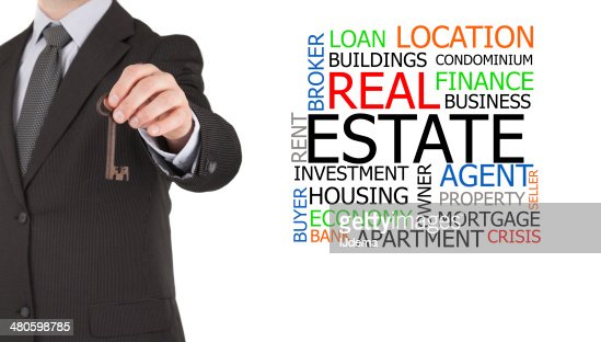 Real estate agent next to word cloud : Stock Photo