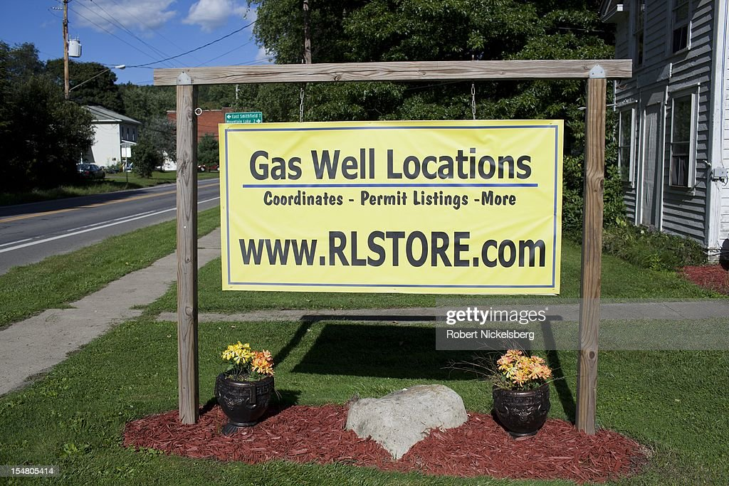 A real estate company in Burlington, Pennsylvania advertises land holdings, well permits and access for Marcellus Shale natural gas locations September 10, 2012. The natural gas drilling in the Marcellus Shale field uses hydrofracking to produce natural gas, a controversial drilling method which pumps millions of gallons of water, sand and chemicals into horizontally drilled wells to stimulate the release of the gas. The Marcellus Shale gas field stretches diagonally across West Virginia, Ohio, Pennsylvania and New York State. Hydrofracking's environmental impact is a politically sensitive issue in a resource dependent state.
