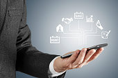 Real estate concept - Business man searching icon screen interface