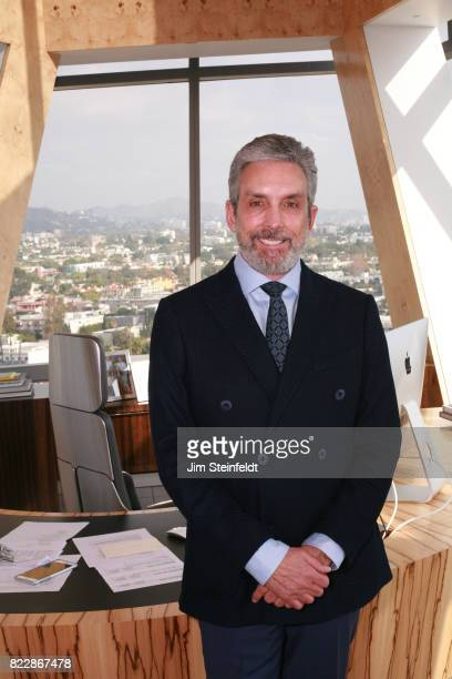 Real estate developer and film producer Charles S Cohen poses for a portrait in his office at the Pacific Design Center in Los Angeles California on...