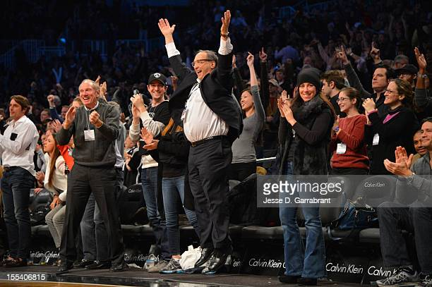 Real Estate Developer and Minority Owner Bruce Ratner of the Brooklyn Nets celebrates the win against the Toronto Raptors during the first ever...