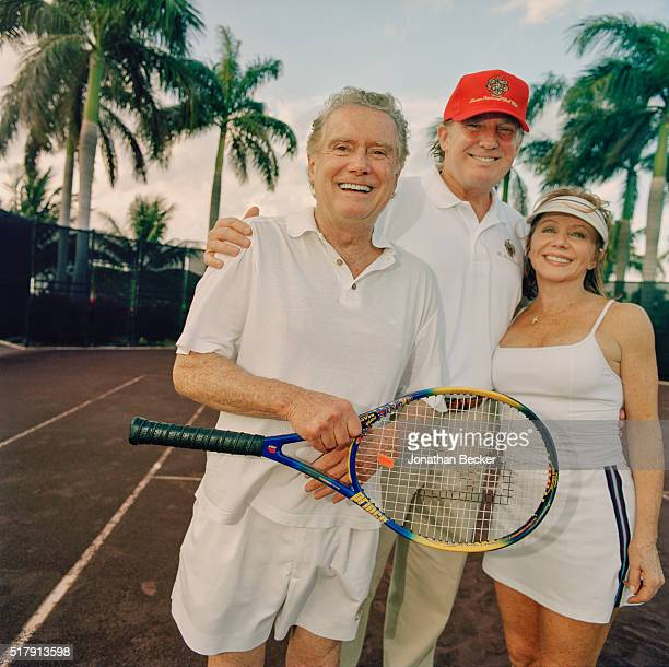 Real estate developer Donald Trump and TV personalities Regis and Joy Philbin are photographed for Vanity Fair Magazine on February 22 2003 at...