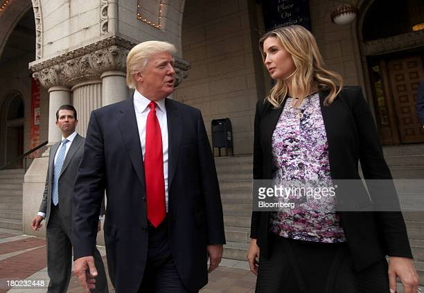 Real estate developer Donald Trump center his daughter Ivanka Trump executive vice president of development and acquisitions at Trump Organization...