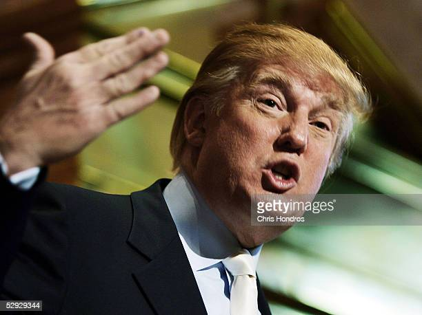 Real estate developer Donald Trump speaks during a news conference presenting a model of a proposed design for the rebuilding of the World Trade...