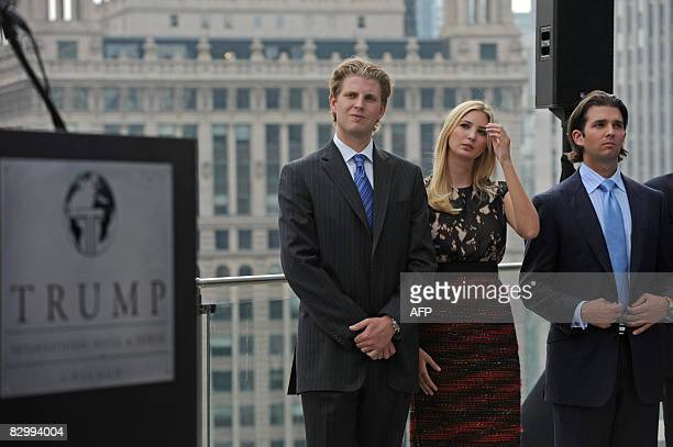 Real estate developer Donald Trump's children Eric Ivanka and Donald Jr attend a press conference at the Trump International Hotel and Tower in...