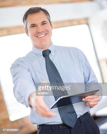 Real estate developer ready to handshake