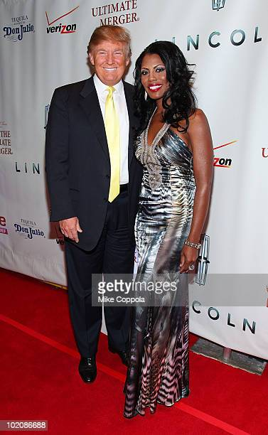 Real Estate Entrepreneur Donald Trump and television personality Omarosa attend 'The Ultimate Merger' premiere at Trump Tower on June 14 2010 in New...