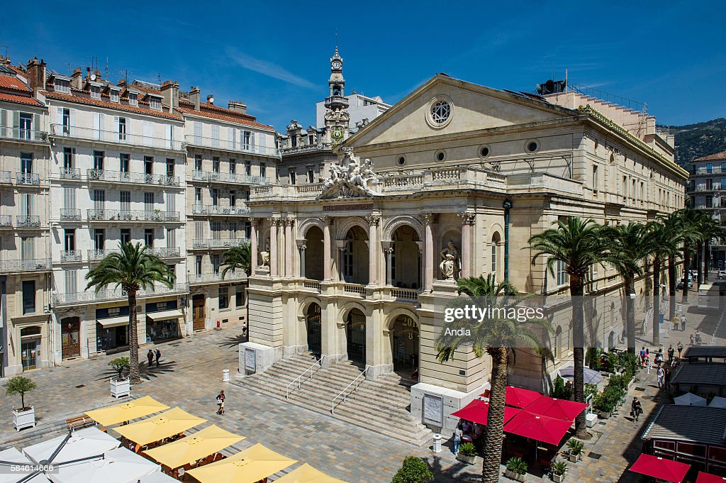 Real estate in Toulon the opera house on place Victor Hugo square in the city centre Buildings surrounding the opera house and cafe terraces