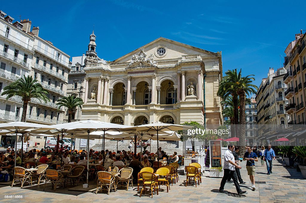 Real estate in Toulon the opera house on place Victor Hugo square in the city centre Buildings surrounding the opera house and cafe terraces...
