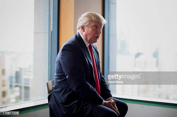 Real estate investor Donald Trump speaks during an interview after an event in Vancouver British Columbia Canada on Wednesday June 19 2013 Trump said...