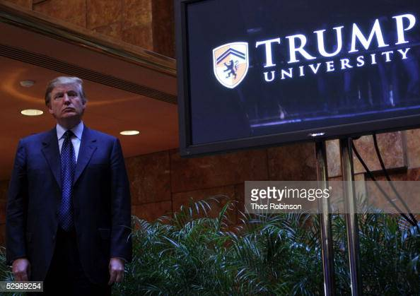Real estate mogul Donald Trump holds a media conference announcing the establishment of Trump University May 23 2005 in New York City Trump...