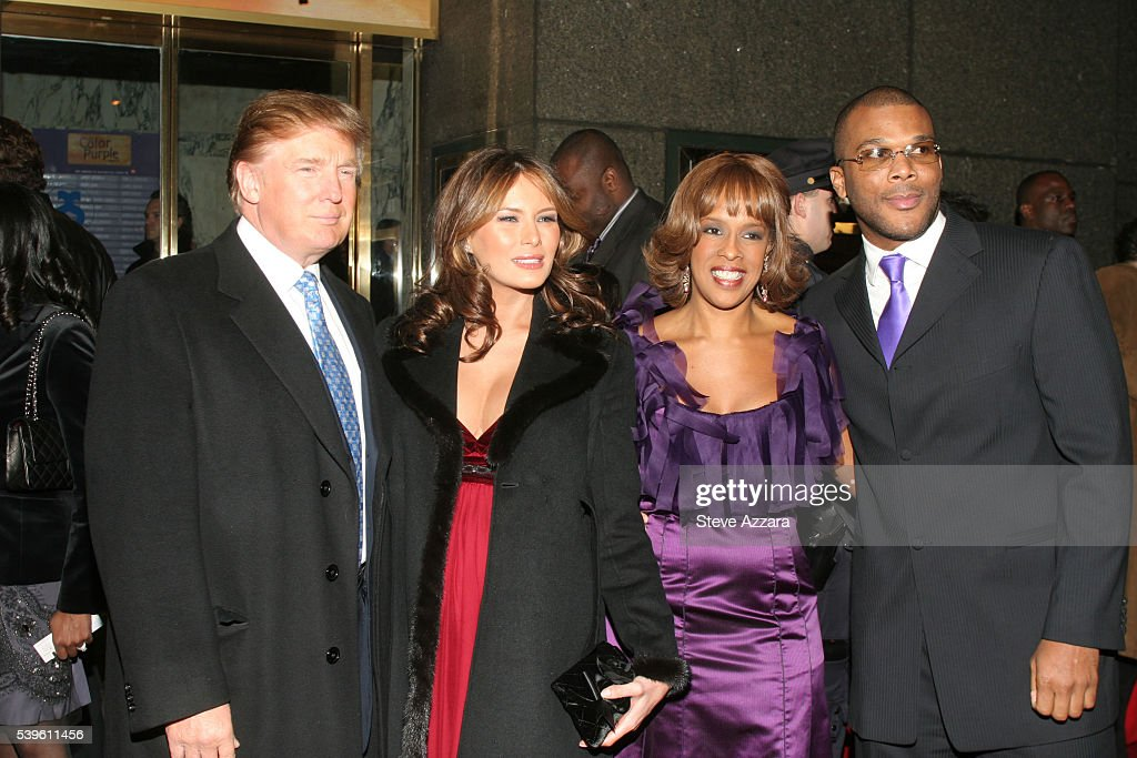 Real estate mogul Donald Trump, pregnant wife Melania Trump, actress Gayle King and Tyler Perry arrive at ' The Color Purple' opening night on Broadway in New York City.