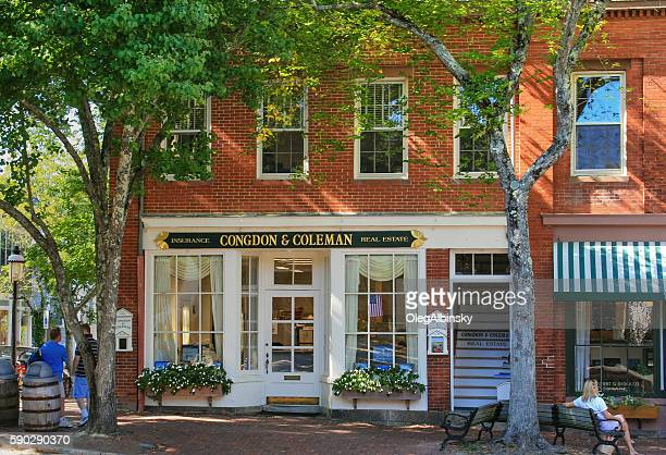 Real Estate Office in Red Brick Building, Nantucket, Massachusetts, USA.