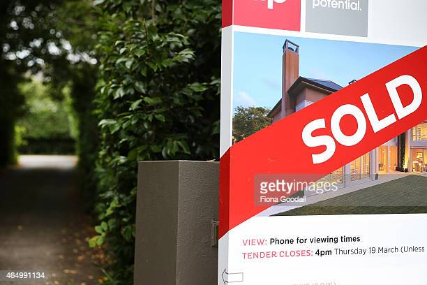 Real Estate signs on Remuera's Victoria Ave on March 3 2015 in Auckland New Zealand Recent figures show that the value of New Zealand's average home...