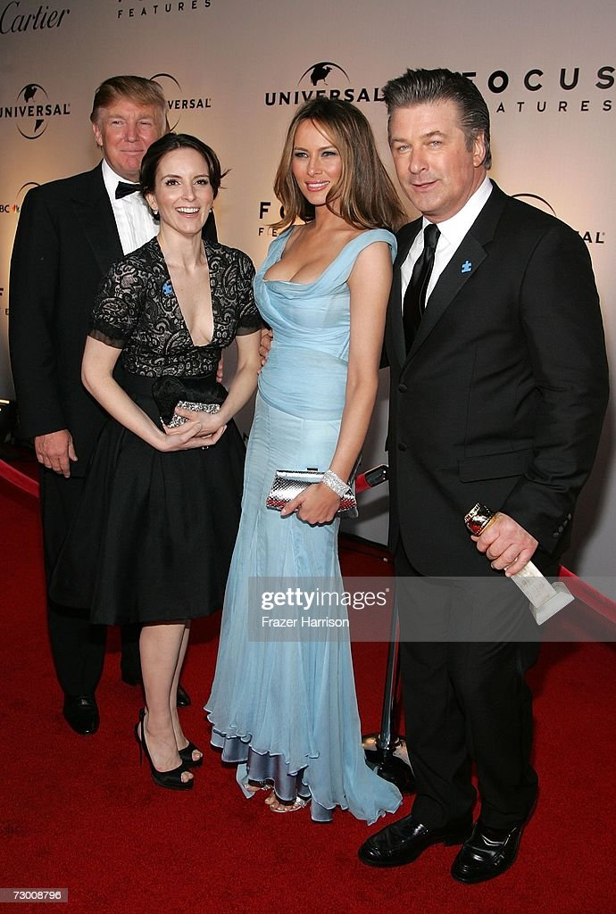 Real Estate tycoon Donald Trump, Actress <a gi-track='captionPersonalityLinkClicked' href=/galleries/search?phrase=Tina+Fey&family=editorial&specificpeople=206753 ng-click='$event.stopPropagation()'>Tina Fey</a>, Melania Trump, and Actor <a gi-track='captionPersonalityLinkClicked' href=/galleries/search?phrase=Alec+Baldwin&family=editorial&specificpeople=202864 ng-click='$event.stopPropagation()'>Alec Baldwin</a> arrive at the NBC/Universal Golden Globe After Party held at the Beverly Hilton on January 15, 2007 in Beverly Hills, California.