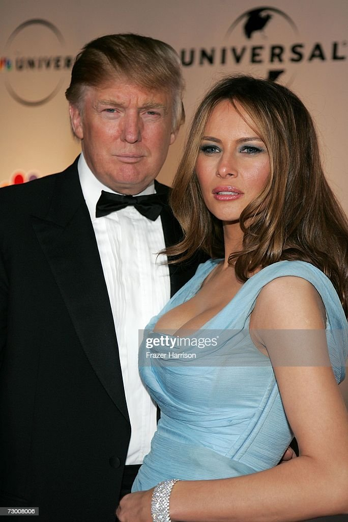Real Estate tycoon Donald Trump and wife Melania Trump arrive at the NBC/Universal Golden Globe After Party held at the Beverly Hilton on January 15, 2007 in Beverly Hills, California.