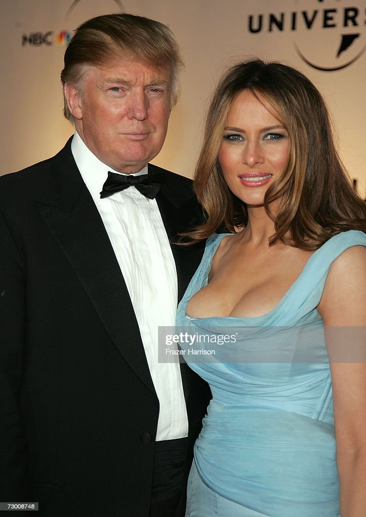 Real Estate tycoon Donald Trump and wife Melania Knauss arrive at the NBC/Universal Golden Globe After Party held at the Beverly Hilton on January 15, 2007 in Beverly Hills, California.