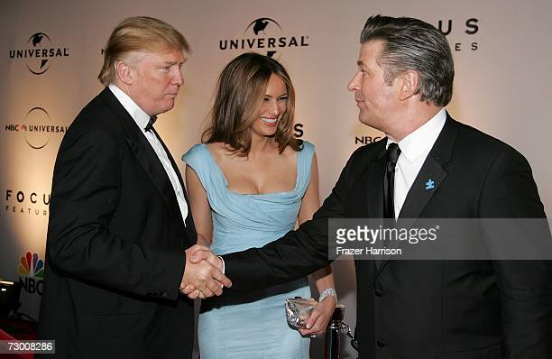 Real Estate tycoon Donald Trump wife Melania Trump and Actor Alec Baldwin arrive at the NBC/Universal Golden Globe After Party held at the Beverly...