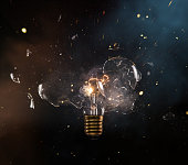 real explosion of vintage electric bulb, close-up.real explosion of vintage electric bulb, close-up.
