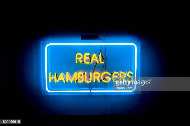 'Real Hamburgers' sign at restaurant