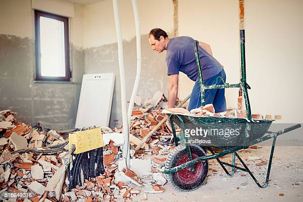 Real Italian worker repairing apartment