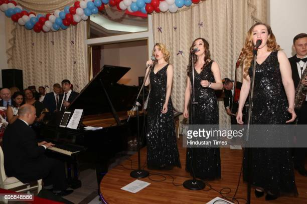 Real Jam jazz band from Moscow performs during the celebration of the National Day of Russia hosted by the Embassy of the Russian Federation on June...