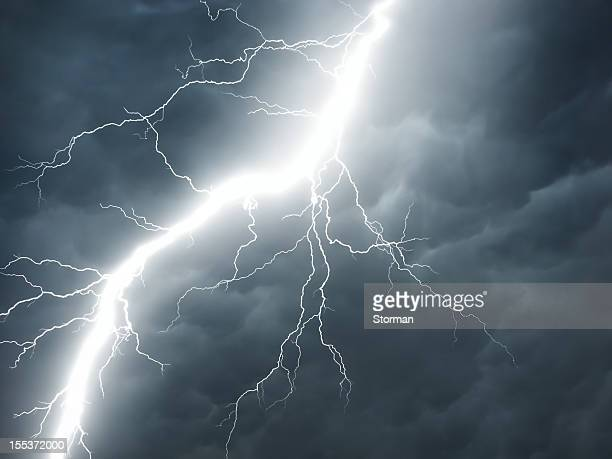 real lightning on stormy sky