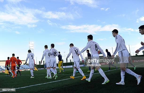 Real Madrid and FC Porto players lineup for the UEFA Youth League Round of 16 match between Real Madrid and FC Porto at Estadio Alfredo Di Stefano on...