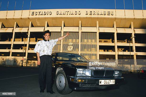 Real Madrid and Mexico striker Hugo Sanchez pictured outside of the Bernabeu Stadium in April 1989 in Madrid Spain