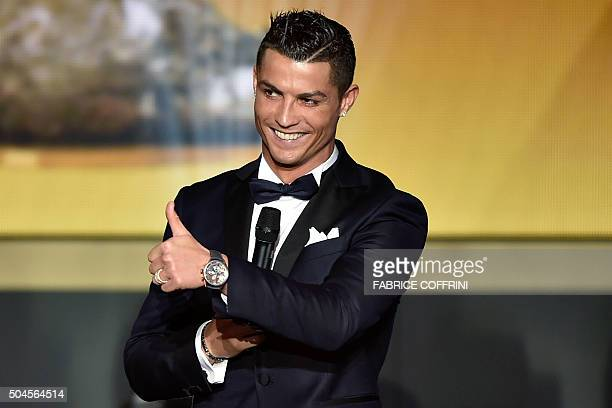 Real Madrid and Portugal's forward Cristiano Ronaldo gestures on stage during the 2015 FIFA Ballon d'Or award ceremony at the Kongresshaus in Zurich...
