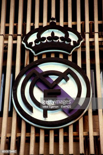 Real Madrid badge on the exterior of the Estadio Santiago Bernabeu home of Real Madrid
