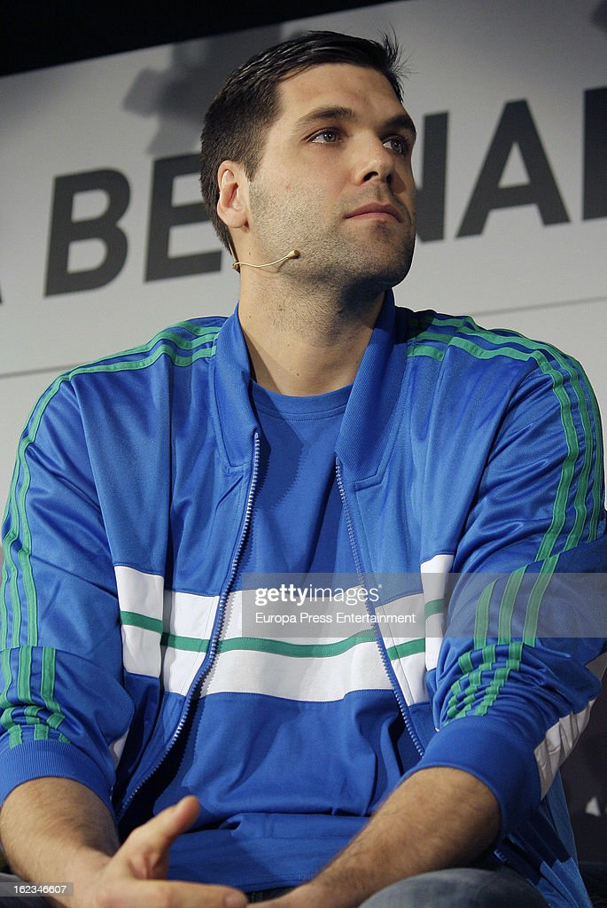 Real Madrid basket player <a gi-track='captionPersonalityLinkClicked' href=/galleries/search?phrase=Felipe+Reyes&family=editorial&specificpeople=732755 ng-click='$event.stopPropagation()'>Felipe Reyes</a> attends the opening of the new 'Adidas' store at the Santiago Bernabeu stadium on February 21, 2013 in Madrid, Spain.