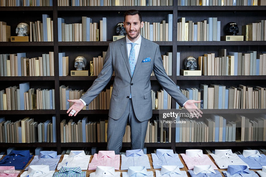 Real Madrid basketball player Rudy Fernandez poses during a photocall to present the new 2015 Olimpo collection at Otto restaurant on November 17, 2014 in Madrid, Spain.
