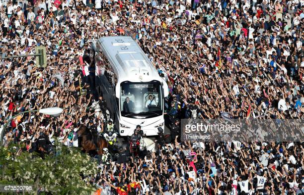 Real Madrid bus arrives at the stadium prior the La Liga match between Real Madrid CF and FC Barcelona at the Santiago Bernabeu stadium on April 23...