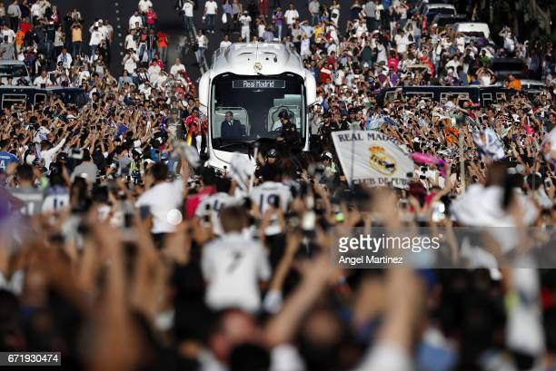 Real Madrid bus arrives at the stadium prior to the La Liga match between Real Madrid and FC Barcelona at Estadio Santiago Bernabeu on April 23 2017...