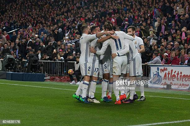 Real Madrid celebrates the first Goal of the match Real Madrid beats Atletico de Madrid by 3 to 0 in the last League derby in estadio Vicente Calderon