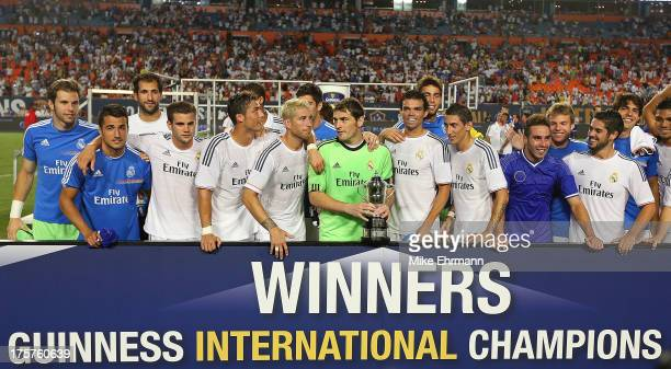 Real Madrid celebrates winning the International Champions Cup Championship match against Chelsea at Sun Life Stadium on August 7 2013 in Miami...