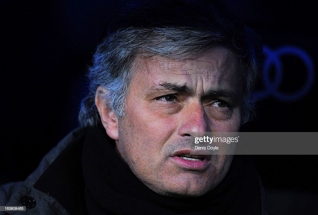 Real Madrid CF head coach Jose Mourinho looks on during the La Liga match between Real Madrid CF and RCD Mallorca at estadio Santiago Bernabeu on March 16, 2013 in Madrid, Spain.