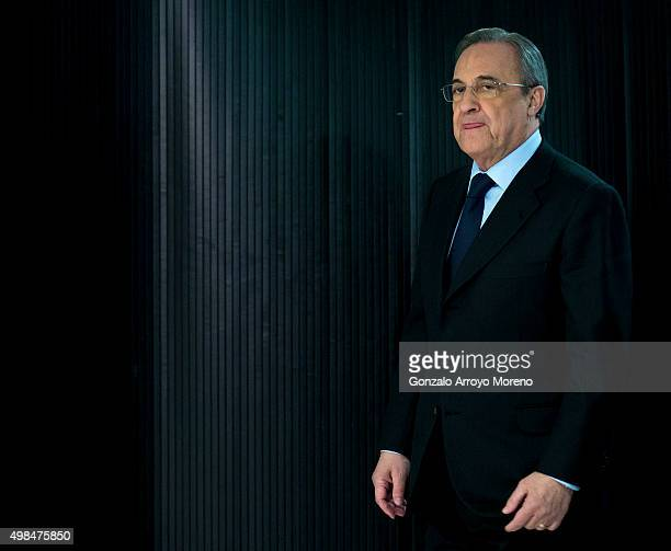 Real Madrid CF president Florentino Perez arrives at his press conference at Estadio Santiago Bernabeu on November 23 2015 in Madrid Spain