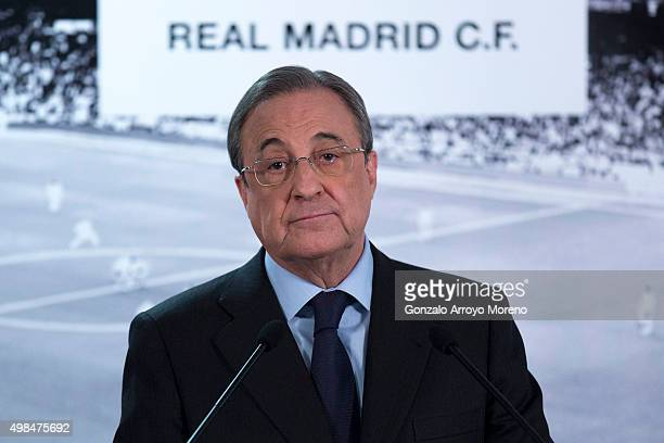 Real Madrid CF president Florentino Perez gives a press conference at Estadio Santiago Bernabeu on November 23 2015 in Madrid Spain
