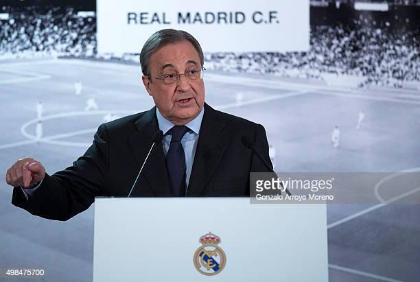 Real Madrid CF president Florentino Perez gives a press conference at Estadio Santiago Bernabeu on November 23 2015 in Madrid Spain