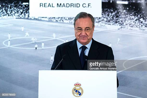 Real Madrid CF president Florentino Perez gives a speech as he comunicates the dismissal of Rafael benitez and announces Zinedine Zidane as new Real...