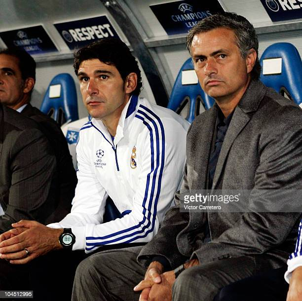 Real Madrid coach Jose Mourinho and assistant coach Aitor Karanka look on before the UEFA Champions League group G match between Auxerre and Real...