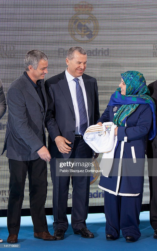 Real Madrid coach Jose Mourinho, Representative of the government of the United Arab Emirates Ras Al Khaimah, Khater Massaad and United Arab Emirates ambassador Hissa Abdulla Ahmed Al-Otaiba attend the Real Madrid Resort Island presentation at Estadio Santiago Bernabeu on March 22, 2012 in Madrid, Spain.
