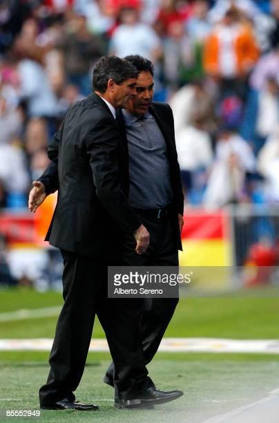 Real Madrid coach Juande Ramos greets Almeria coach Hugo Sanchez after the Primera Liga match between Real Madrid and UD Almeria at the Santiago...
