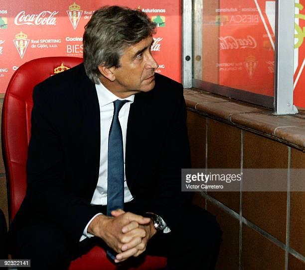 Real Madrid coach Manuel Pellegrini looks on before the La Liga match between Sporting Gijon and Real Madrid at El Molinon Stadium on October 24 2009...