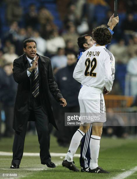 Real Madrid coach Wanderley Luxemburgo shouts instructions to substitute Francisco Pavon during the Primera Liga match against Real Sociedad at the...