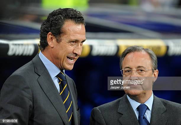 Real Madrid director general Jorge Valdano chats with Real Madrid president Florentino Perez prior to the start of the La Liga match between Real...