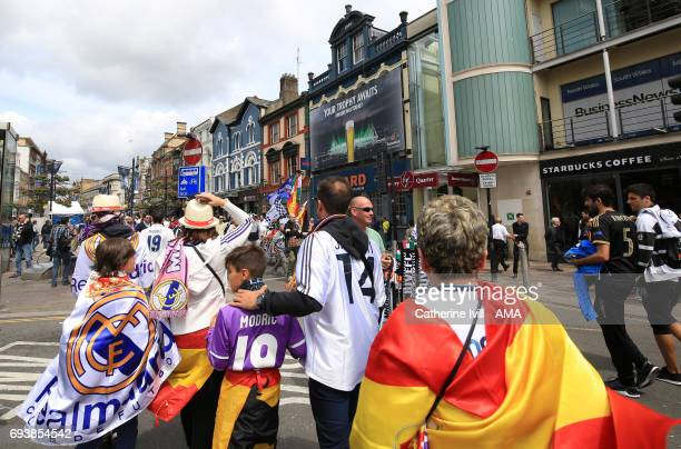 Real Madrid fans make their way through Cardiff city centre ahead of the UEFA Champions League Final match between Juventus and Real Madrid at...
