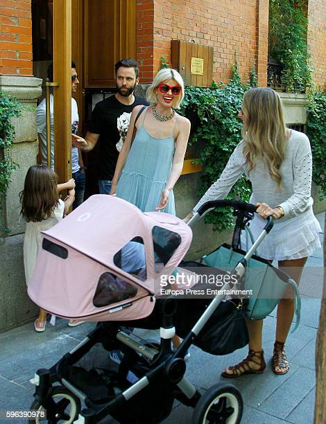 Real Madrid football player Alvaro Arbeloa his wife Carlota Ruiz and their kids Adriana Abenia and her husband Sergio Abad are seen on July 26 2016...
